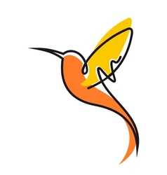 Flying hummingbird in yellow and orange vector image