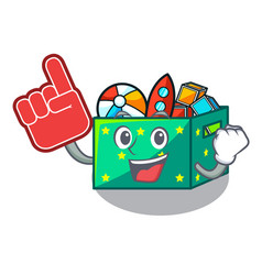 Foam finger children toy boxes isolated on mascot vector