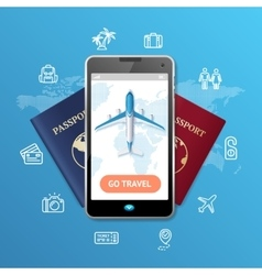 Go Travel Mobile Ticket Booking Concept vector image