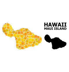 Golden square mosaic map maui island vector