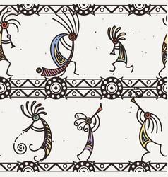 hand drawn kokopelli seamless pattern stylized vector image