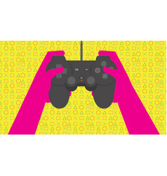 Hands holding joystick to play games vector