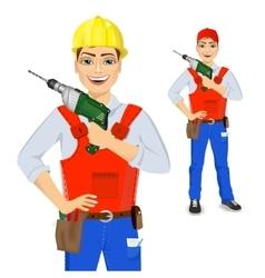 Handyman holding green drill vector