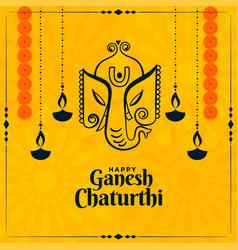 happy ganesh chaturthi indian festival yellow vector image