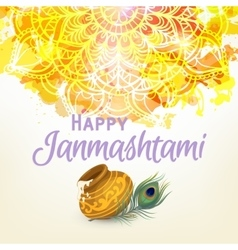 Happy Janmashtam card vector image