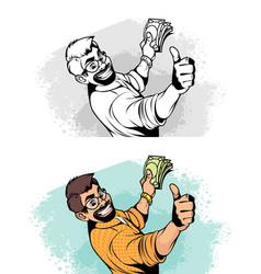 happy man with money vector image