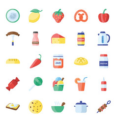Healthy food and drinks flat icons pack vector