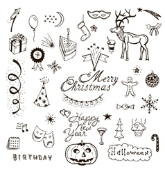Holidays doodle set vector