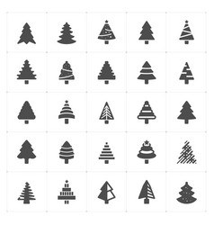 icon set - christmas tree filled icon vector image