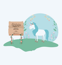 Invited birthday party card with unicorn vector