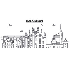 Italy milan architecture line skyline vector