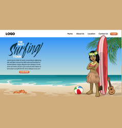 landing page surfing tour in cartoon style vector image
