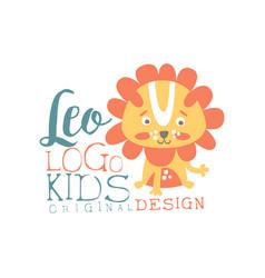 Leo kids logo original design bashop label vector