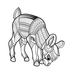 little deer black white hand drawn coloring page vector image