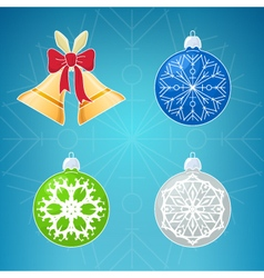 Merry Christmas Icons on Blue Background vector