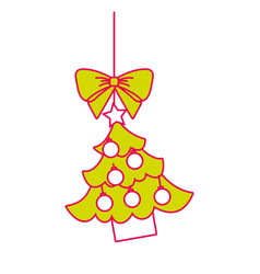 merry christmas tree hanging bow ball and star vector image