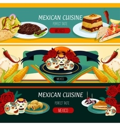 Mexican cuisine menu banners with authentic food vector