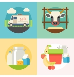 Milk flat banner set with manufacture of dairy vector image