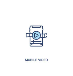 Mobile video concept 2 colored icon simple line vector