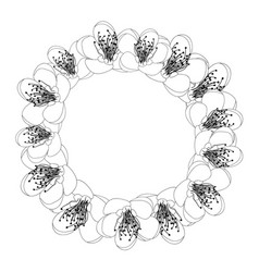 momo peach flower blossom wreath outline vector image