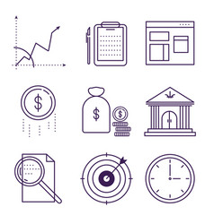 Money and bank symbols object outline icons vector