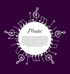 Music note notation round wavy frame and text vector