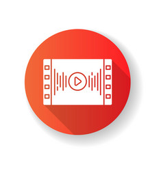 Music video red flat design long shadow glyph icon vector