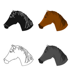 Muzzle horse icon cartoon singe western icon from vector