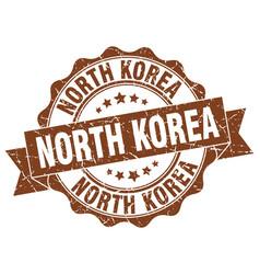 north korea round ribbon seal vector image