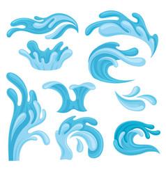 ocean or sea waves set water splashes design vector image