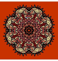 Ornamental colorful mandala on red Art vintage vector image