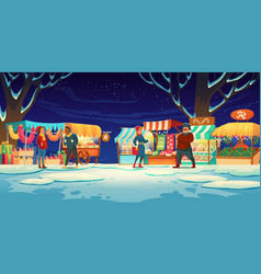 people on christmas fair with market stalls vector image
