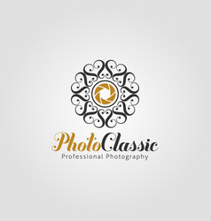 photo classic - photography studio logo template vector image