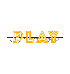 Play label in neon light icon vector
