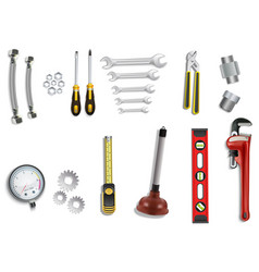 Plumber service icons set on white background vector