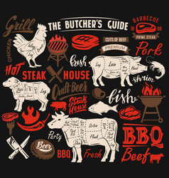 Poster meat steak vector