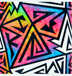 Rainbow geometric seamless pattern vector