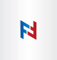 Red blue letter f symbol design vector