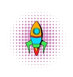 Rocket icon in comics style vector image