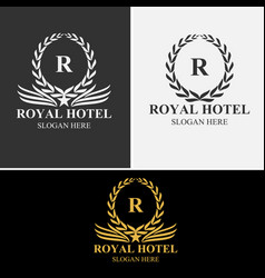 royal hotel logo set vector image