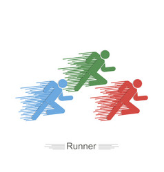 runners of different color flat style logo icon vector image