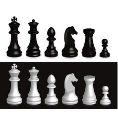 Set chess pieces 3d vector