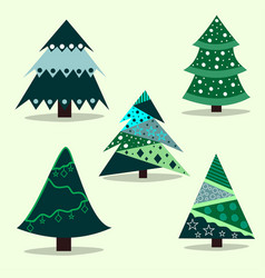 set christmas trees for decorating vector image