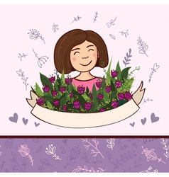 Set of elements with woman with flowers and floral vector image