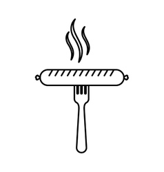 Silhouette fork with raw sausage vector