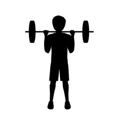 Silhouette man weightlifting second position vector