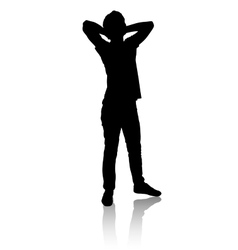 Silhouette of a man who stands and relaxes vector