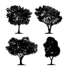 Silhouette tree set isolated black forest vector