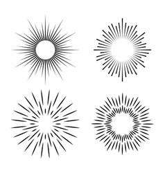 simple ray set hand drawn geometry gold burst sun vector image