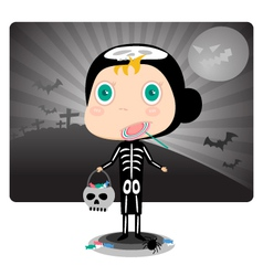 Skeleton Kids Halloween Costumes vector image vector image